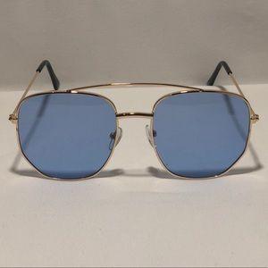 Other - Gold/Blue Lens Pilot Aviator Sunglasses